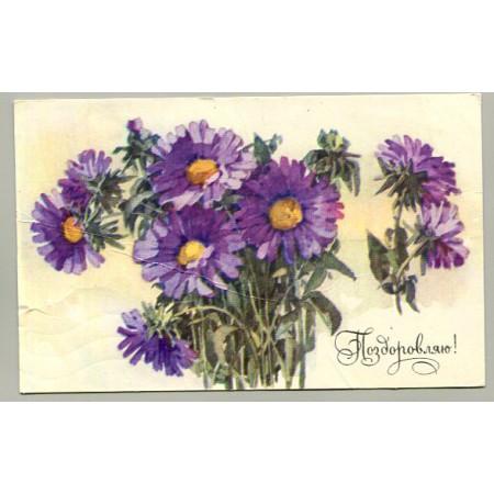 Поздравительная почтовая открытка лот 13137