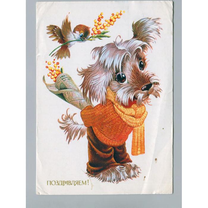 Поздравительная почтовая открытка лот 2722