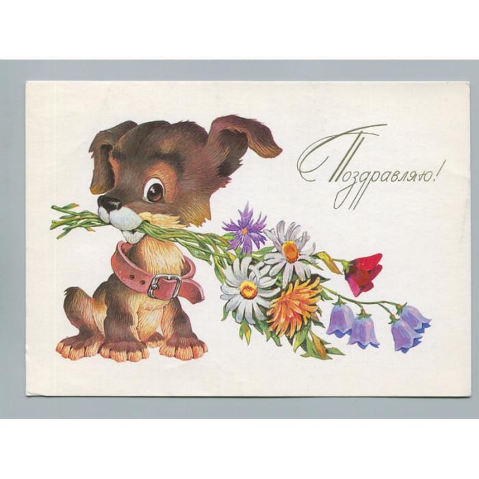 Поздравительная почтовая открытка лот 2782