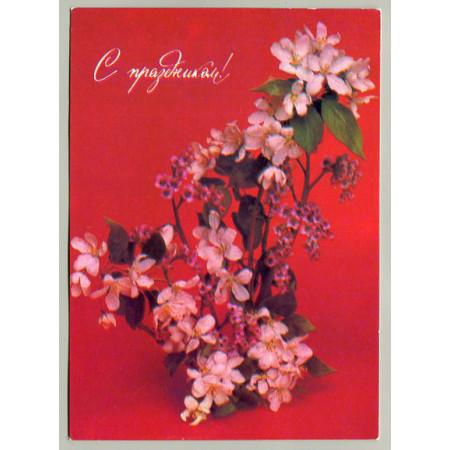 Поздравительная почтовая открытка лот 5194